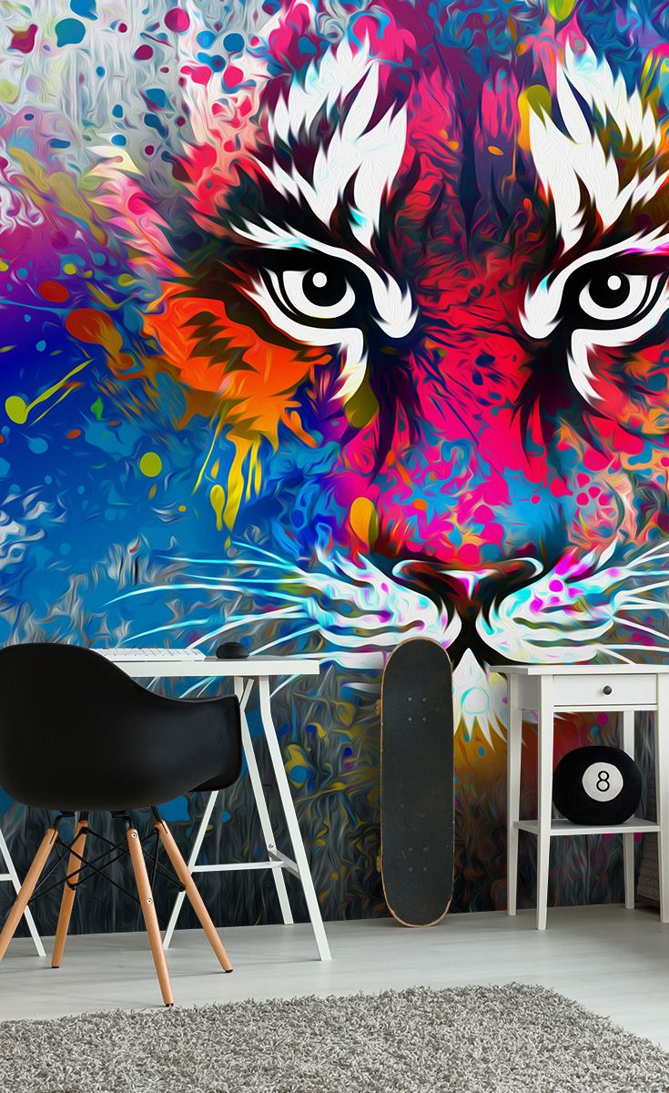 tiger art decor bedroom murals graffiti bedroom diy room decor. Black Bedroom Furniture Sets. Home Design Ideas