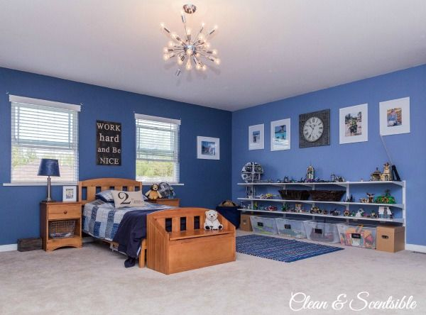 Awesome boy's bedroom ideas! Love this color for Gabe's new room and set-up