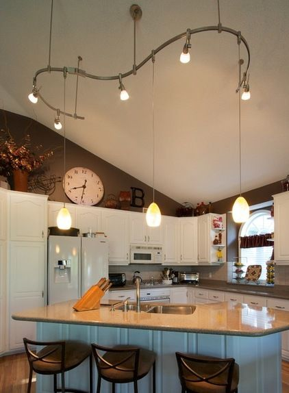 Kitchen lighting vaulted ceiling creative lighting for Kitchen island track lighting