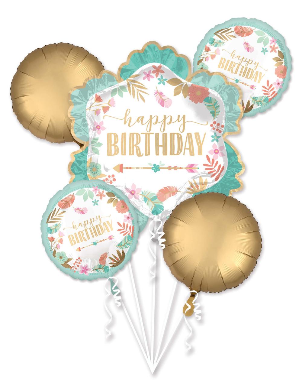 Bouquet ballons aluminium en forme de fleur Happy Birthday ...