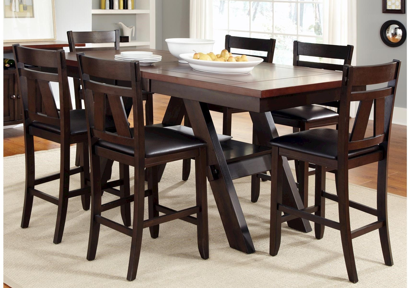 Lacks Lawson 7 Pc Counter Height Dining Set Liberty Furniture Kitchen Table Settings Counter Height Kitchen Table