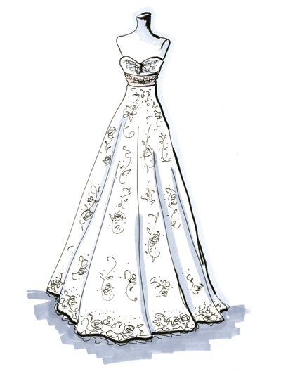 What S Your Shape Wedding Dress Sketches Empire Style Wedding