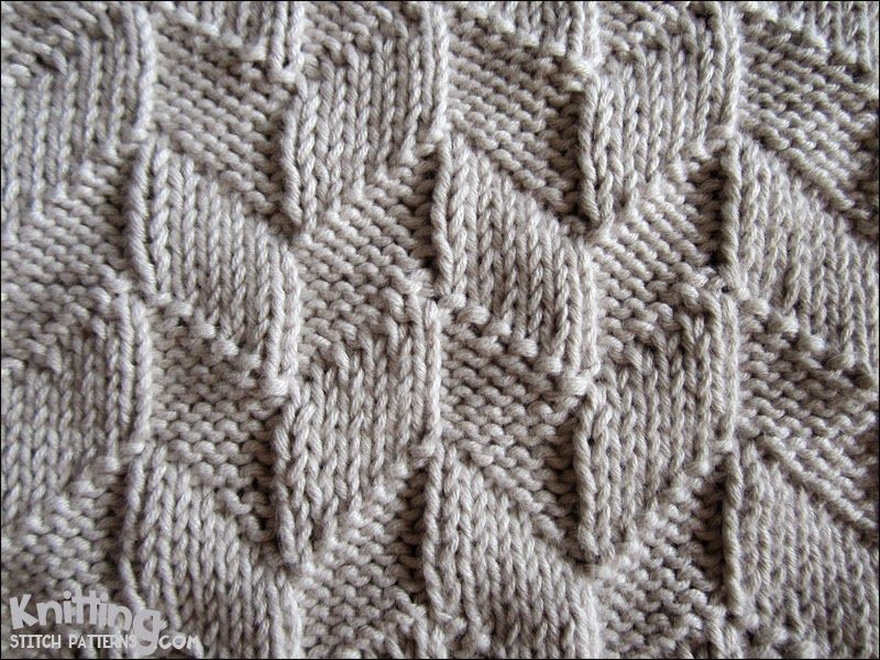 Knitting Stitches Patterns Easy : This easy design uses only the knit (k) and purl (p) stitches, but the patter...