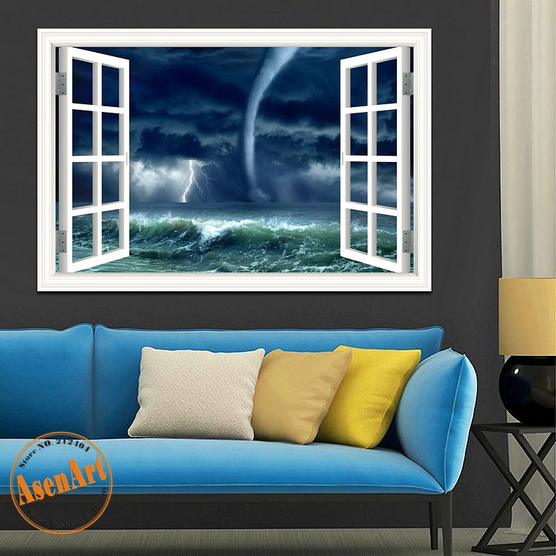 Cheap wall art, Buy Quality wall stickers directly from China wall sticker  Suppliers: Removable Wall Sticker Tornado Hurricane Window View Decals  Nature ...