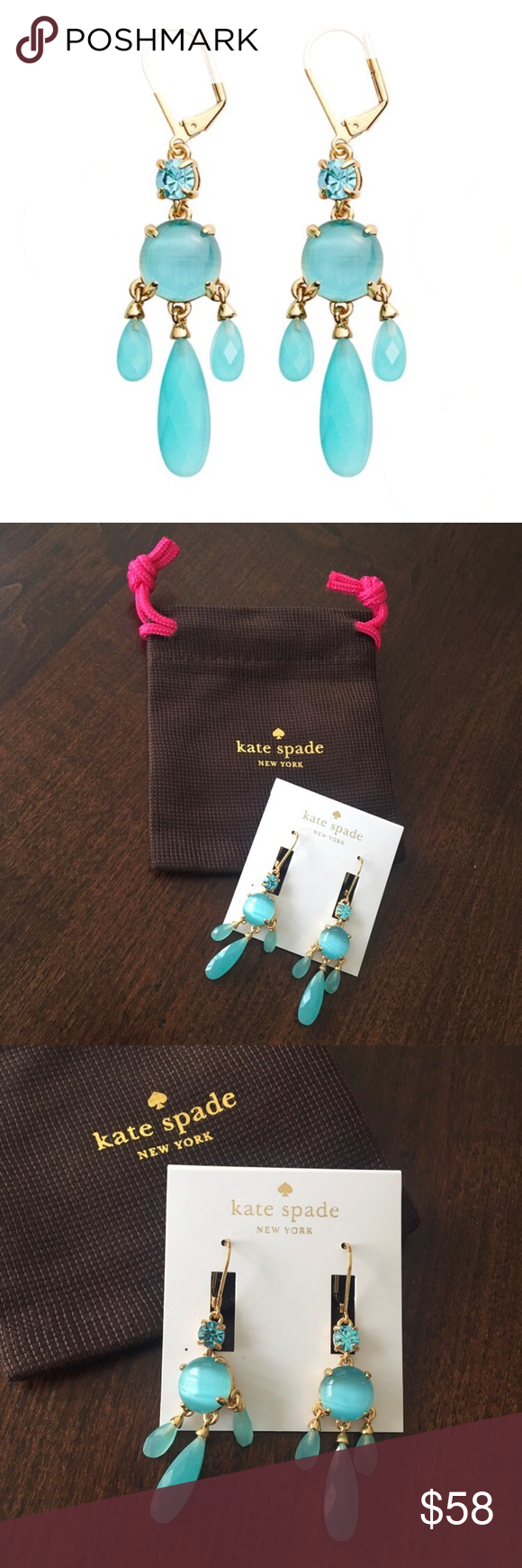 ✨NWT✨ Kate Spade Chandelier Earrings Blue & Gold NWT | Mothers ...