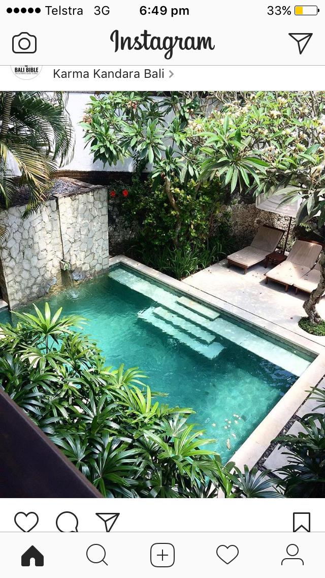 Salt Water Pool Backyard In 2019 Small Courtyard