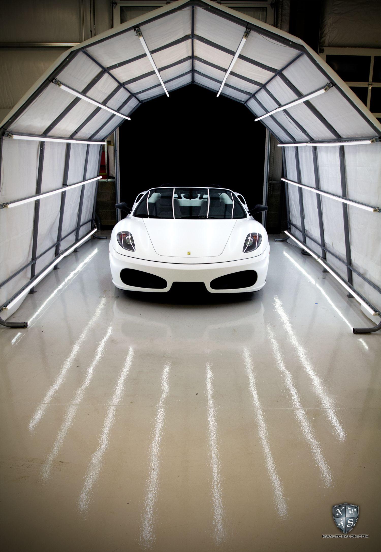 Ferrari F430 Matte White Car Showroom Design Car Detailing Garage Design