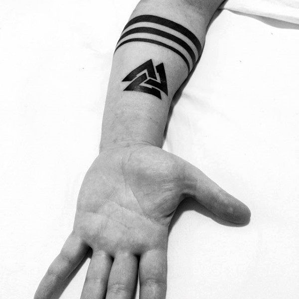 4763bbdc8d5b7 2017 trend Tattoo Trends - Cool Solid Back Ink Valknut Tattos For Men On  Inner Forearms.