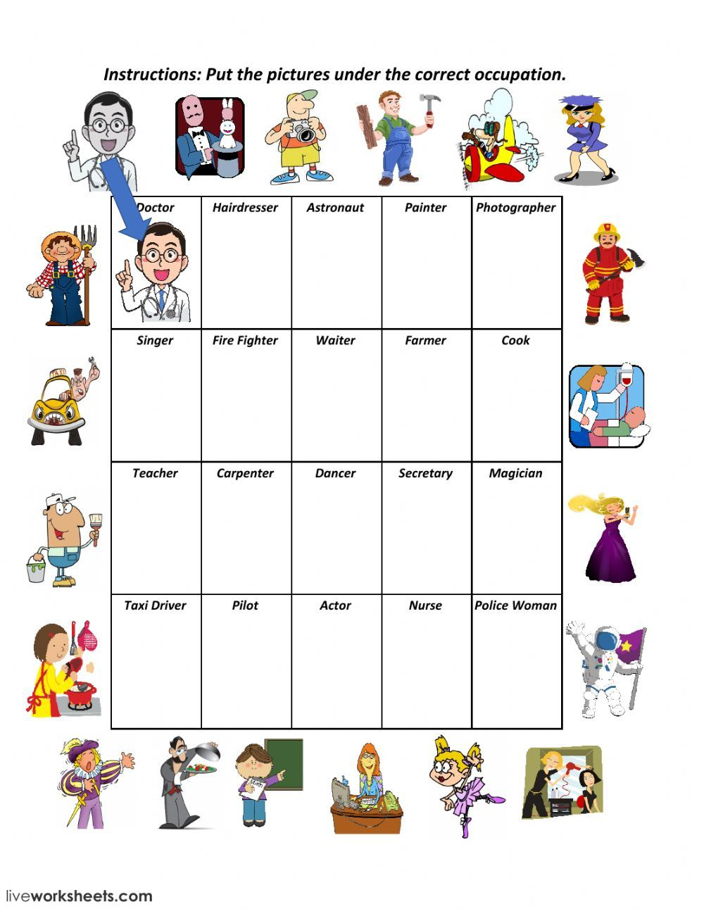 Jobs and occupations online worksheet. You can do the exercises online or  download the workshee…   English lessons for kids [ 1291 x 1000 Pixel ]