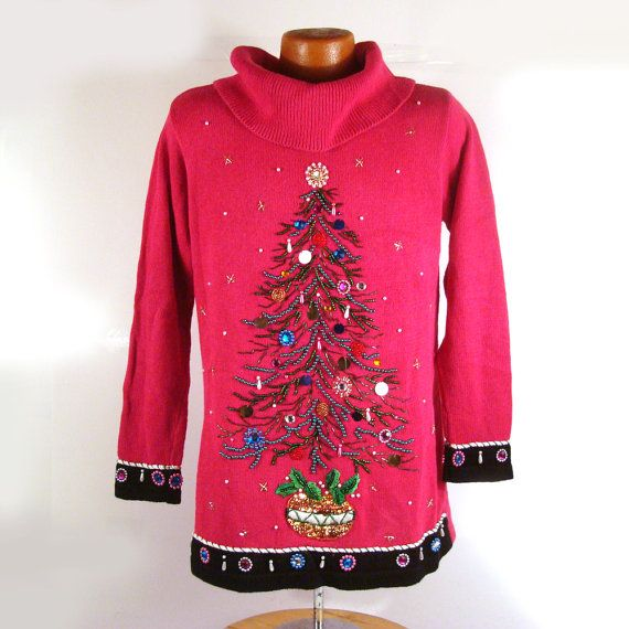 Ugly Christmas Sweater Vintage 1980s Beaded by purevintageclothing Tree Gem Holiday Tacky Party Xmas