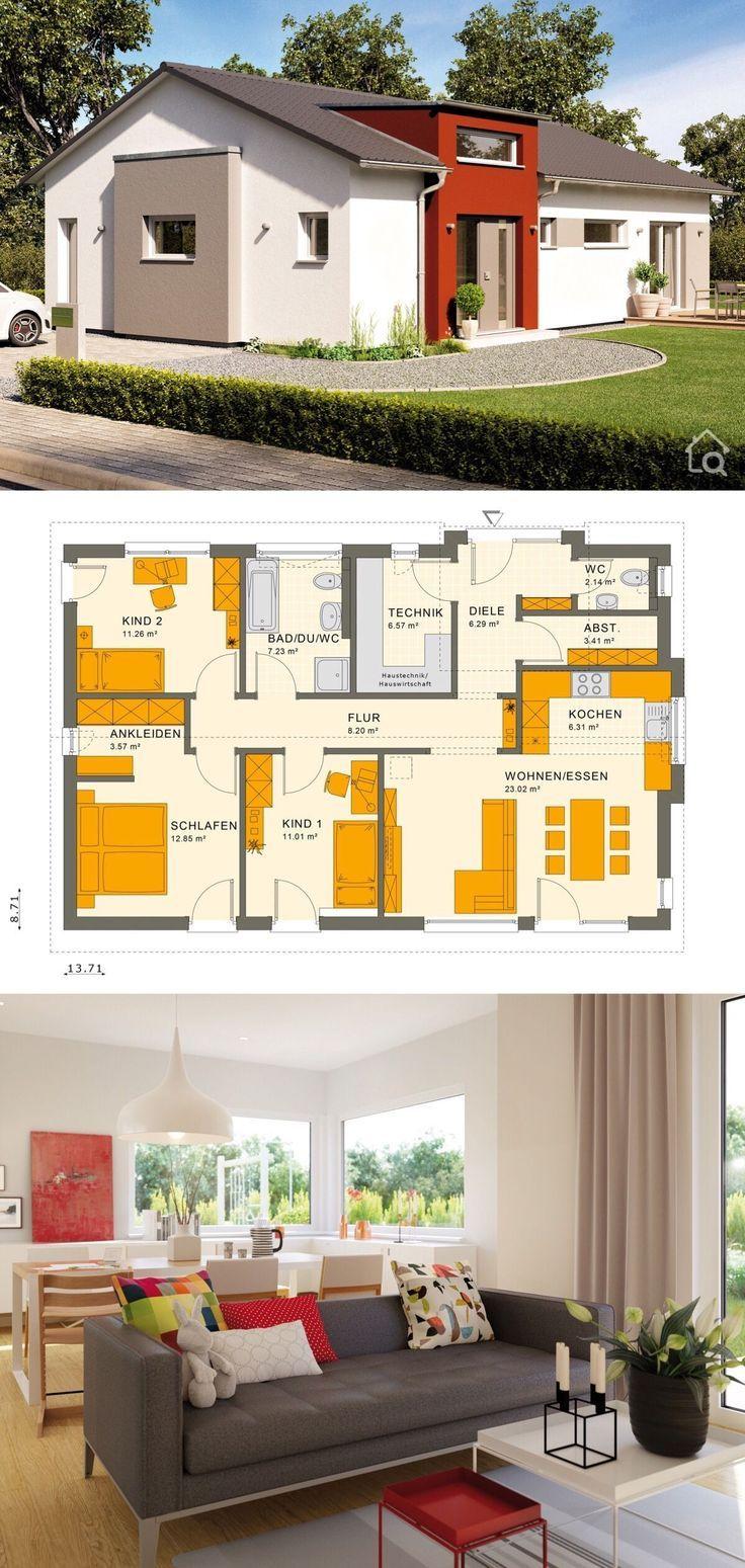 Bungalow Haus modern mit Satteldach Architektur