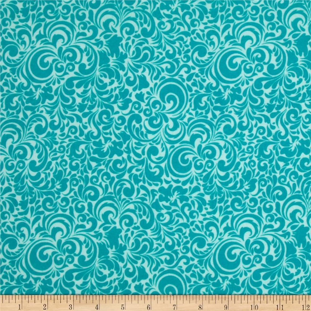 Riley Blake Summer Breeze Flannel Splash Blue from @fabricdotcom  Designed by Bella BLVD for Riley Blake, this single napped (brushed on one side) cotton print fabric is perfect for quilting, apparel and home decor accents. Colors include turquoise and aqua.