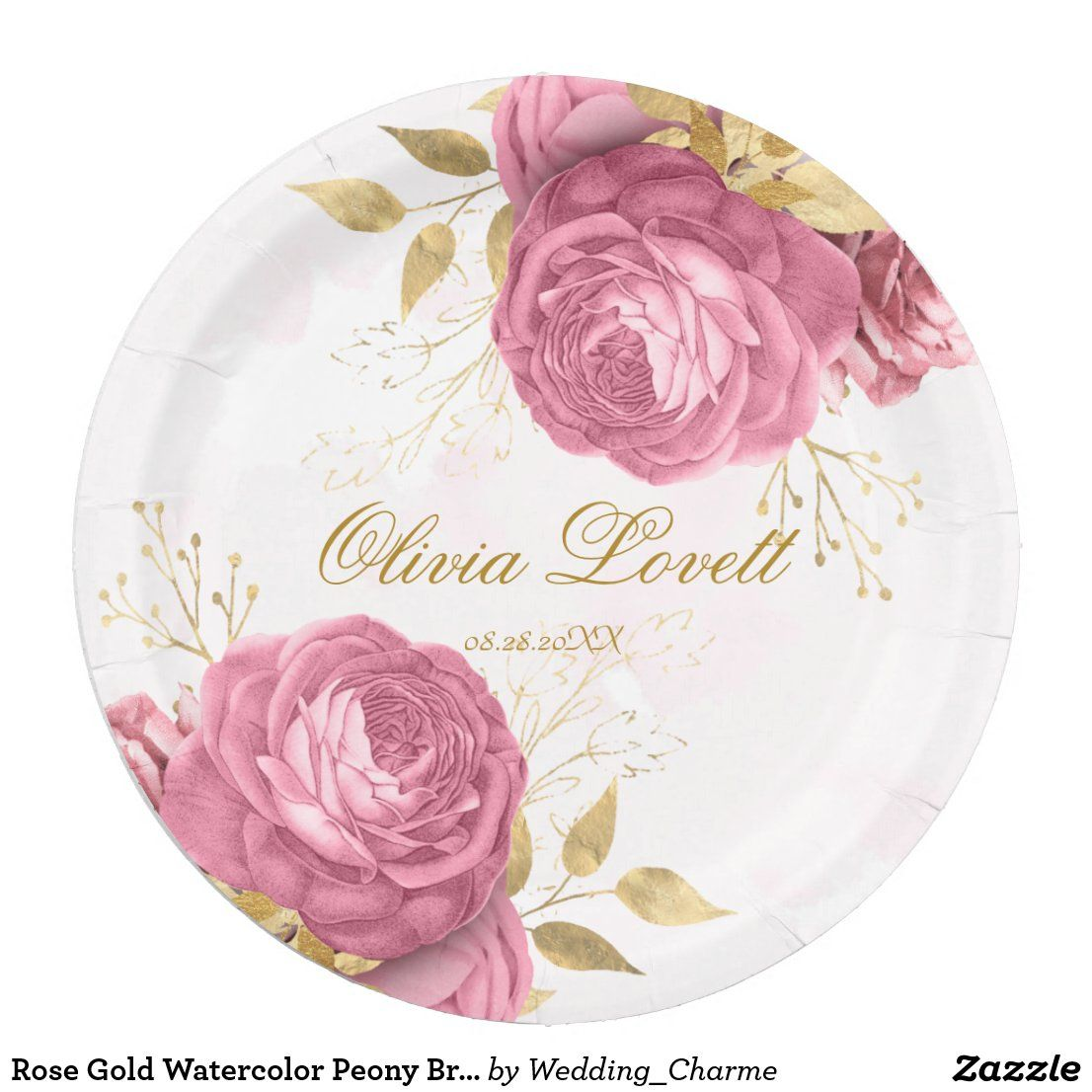 Rose Gold Watercolor Peony Bridal Shower Paper Plate
