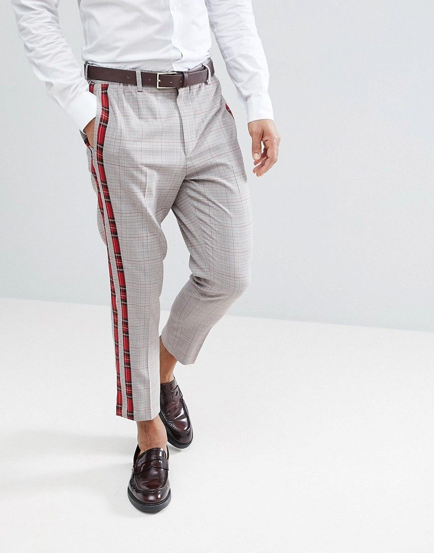 5bf0ca9a DESIGN tapered smart pants in check with plaid side stripes in 2019 ...