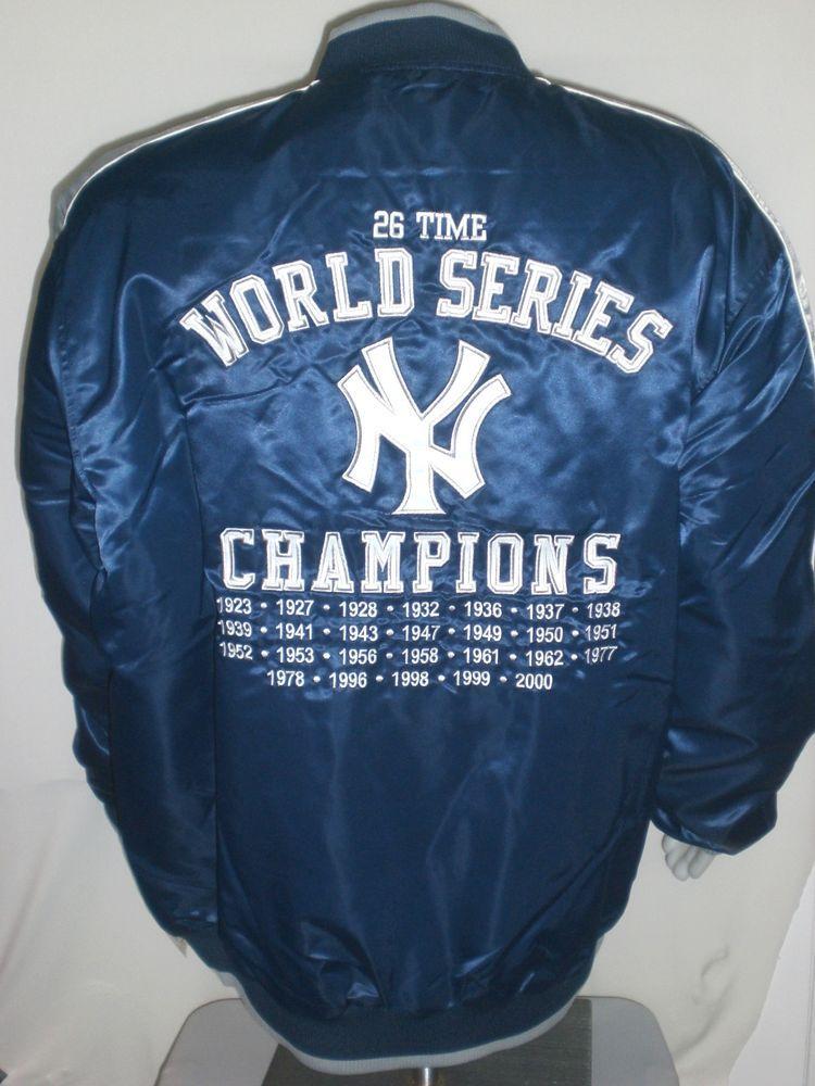 New York Yankees Satin Jacket Mens Xxl 26 Time World Series