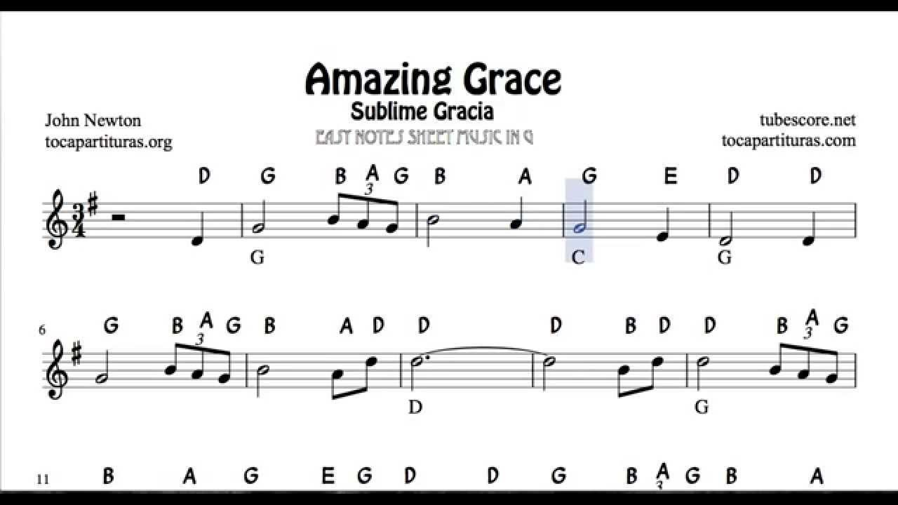 Amazing Grace Easy Notes Sheet Music For Beginners In Treble Clef