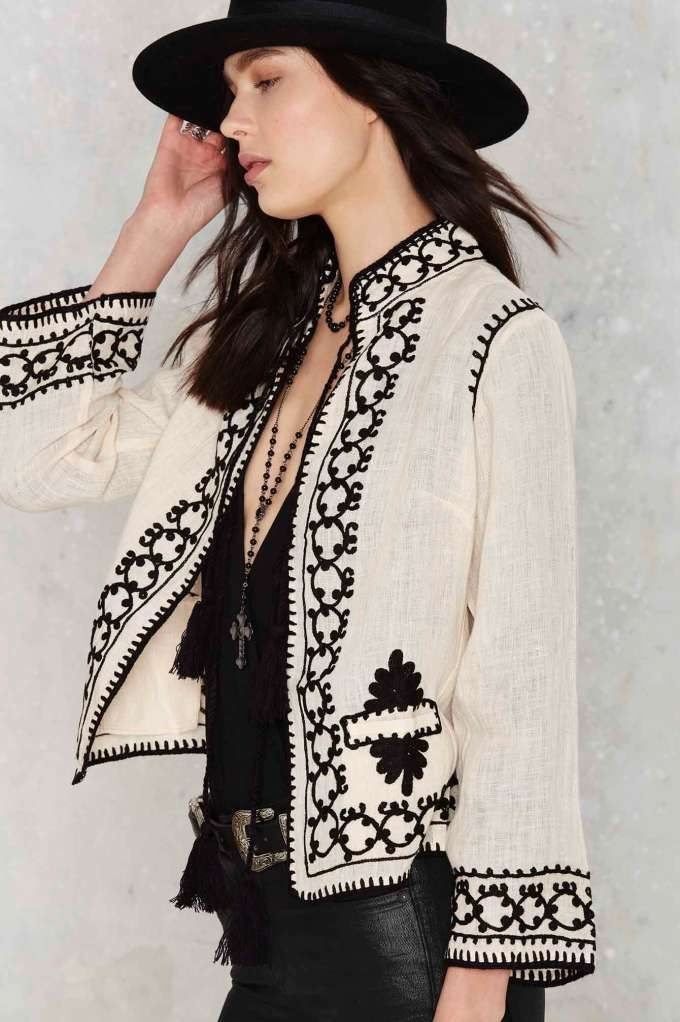 Raga black and white embroidered cropped jacket