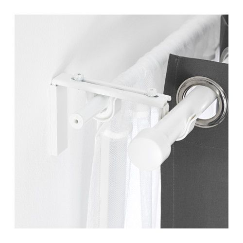 Betydlig Curtain Rod Holder White Cortinas Dobles Soportes De