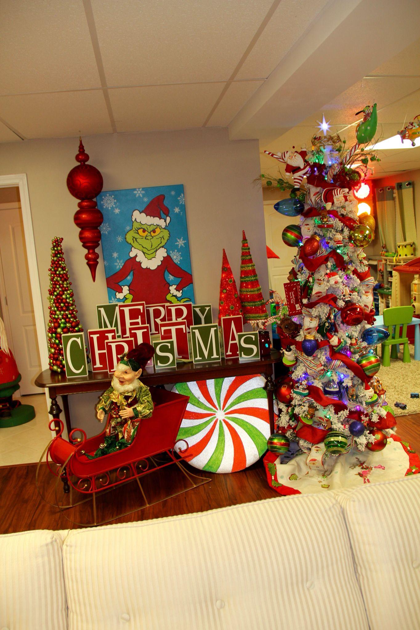 Grinch Painting Santa Tree Grinch Christmas Decorations Indoor Christmas Decorations Grinch Christmas Tree