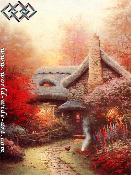 Autumn at Ashley's Cottage - Thomas Kinkade - World-Wide-Art.com