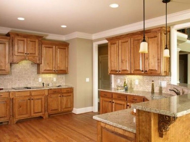 35 Beautiful Kitchen Paint Colors Ideas With Oak Cabinet Tuscan