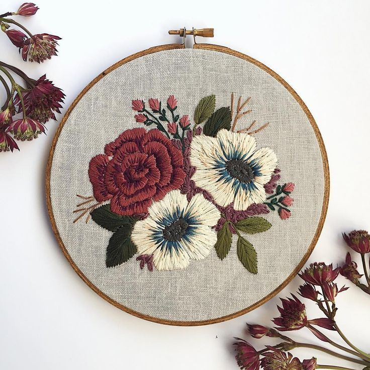 """Florals and Floss on Instagram: """"A few parts of this hoop gave me a lot of trouble and reminded me that I still have things to learn. Ultimately I'm happy with how it…"""" #floralembroidery"""