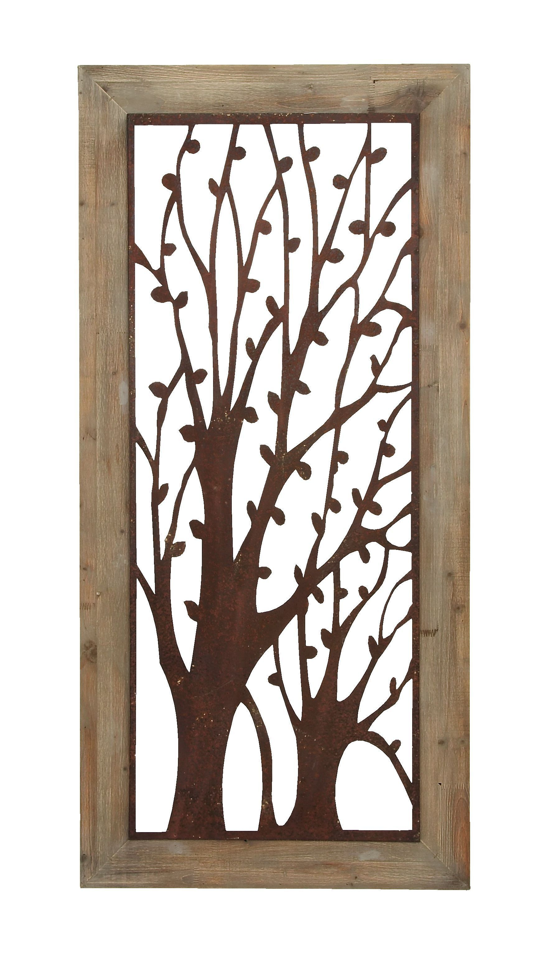 Wood And Metal Wall Plaque Enchanting Wall Plaque With Garden Trees  Backyard Gardening
