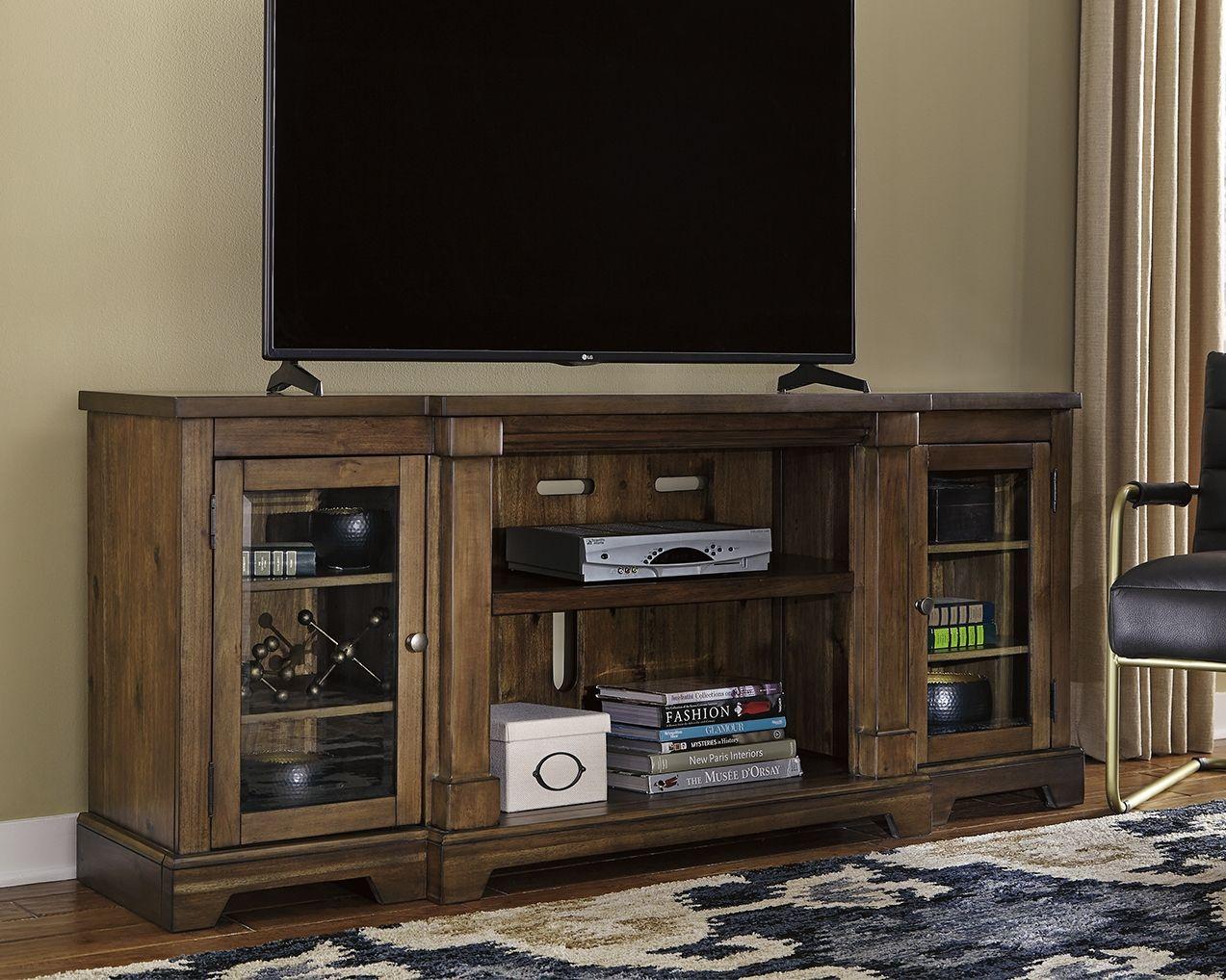 "Flynnter 75"" TV Stand, Medium Brown in 2020 Large tv"