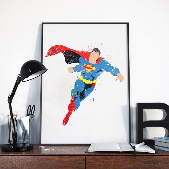 Superman Art Print, Super Heroes Print, Superman Print Poster, Superheroes Print, Superman, Baby Boy Nursery decor, Prints for Children Room