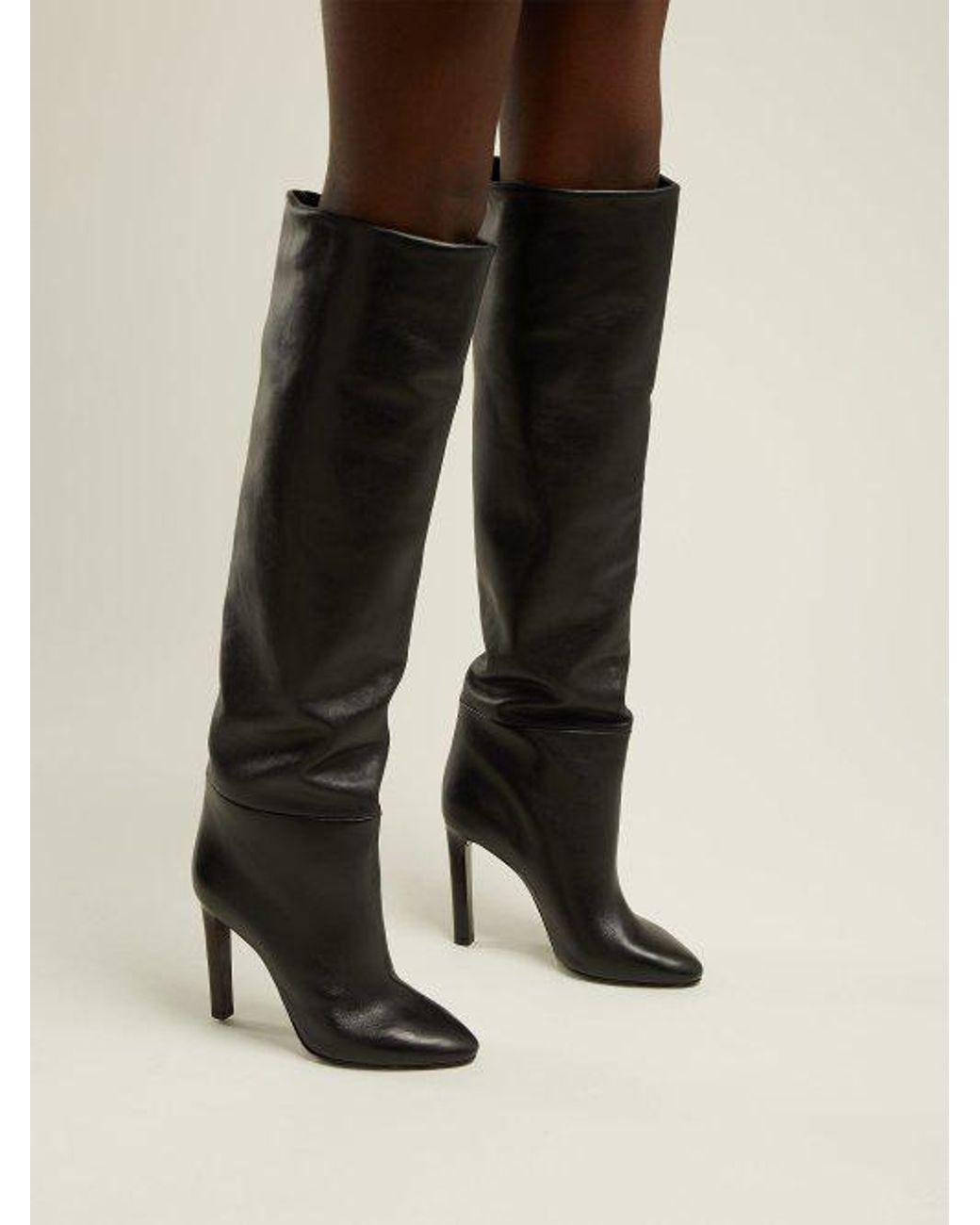 e329db97b43 Saint Laurent - Black Kate Knee High Leather Boots - Lyst