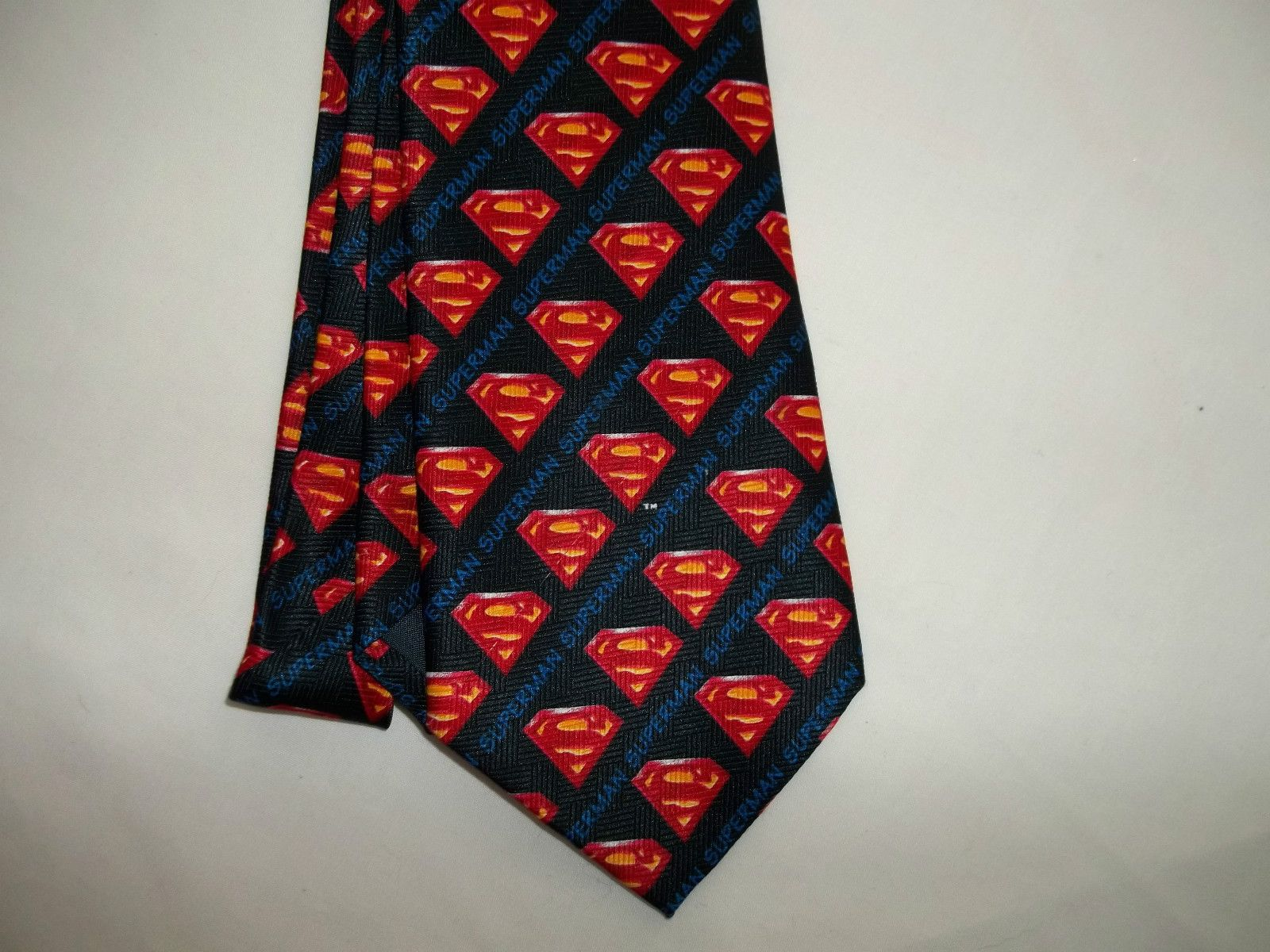 DC COMICS WARNER BROS SUPERMAN BLACK TIE -NEW-