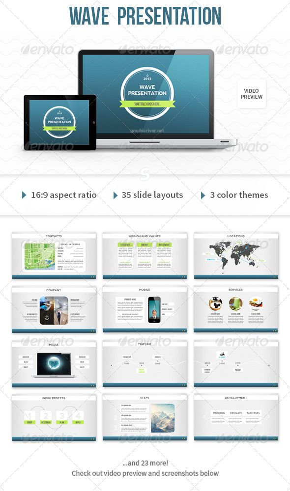 Wave Powerpoint Template Presentation Templates Template And