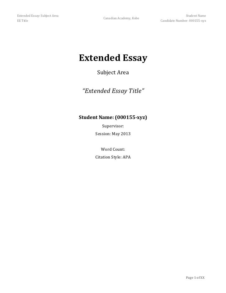 Extended Essay Subject Area Student Name Unsolicited Excerpt Free