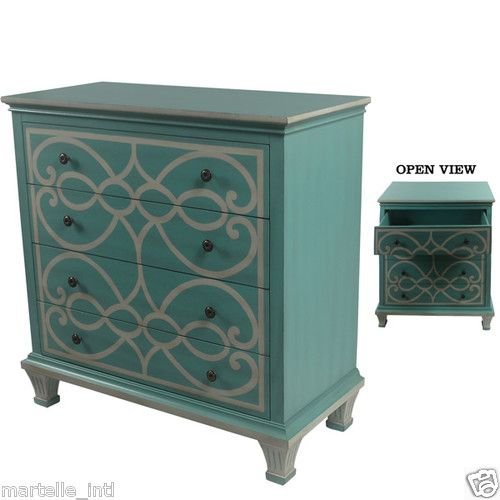 Best Chest Of Drawers Calming Turquoise Blue Silver Scrolls 400 x 300