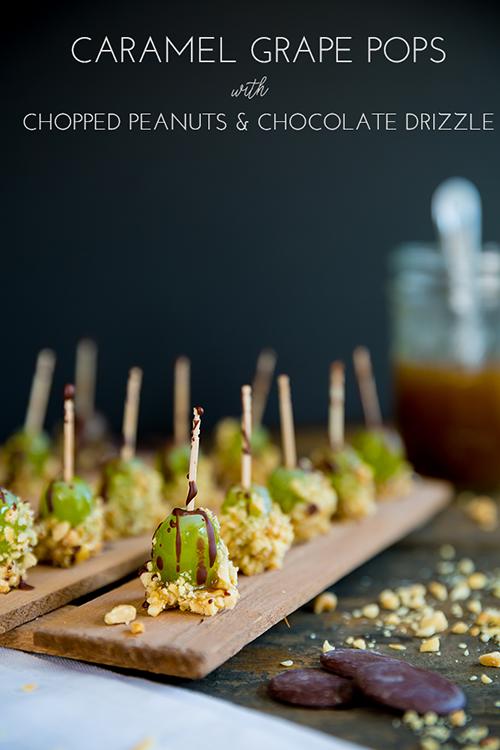 Carmel Grape Pops with Dark Chocolate Drizzle
