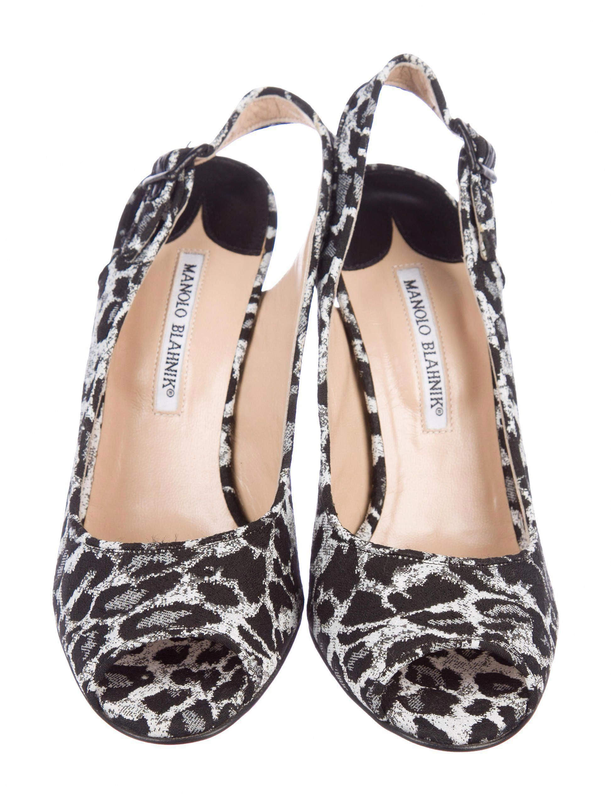 d6789601d1b Black and grey canvas Manolo Blahnik peep-toe slingback pumps with ...