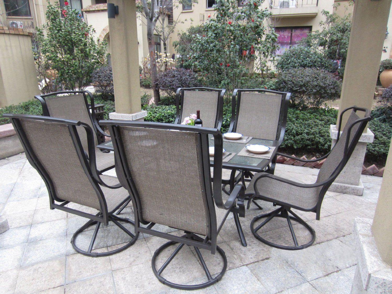 Amazon Com Grand Regent 7Pc Outdoor Swivel Patio Dining 400 x 300