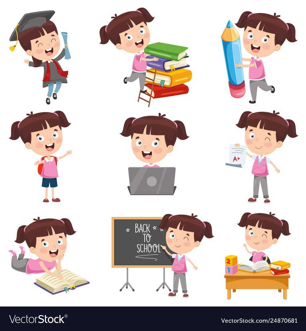 Girl Doing Various Activities Vector Image On Vectorstock Activities Vector Free Vector Images