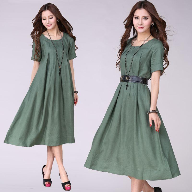 Plus Size Dresses · 100% linen New woman summer loose linen casual maxi  dress short sleeve O neck Beach 749cd8eb4