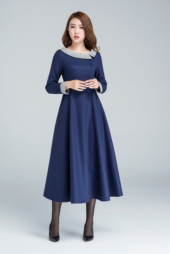 Blue wool dress, midi dress, winter dress, party dress