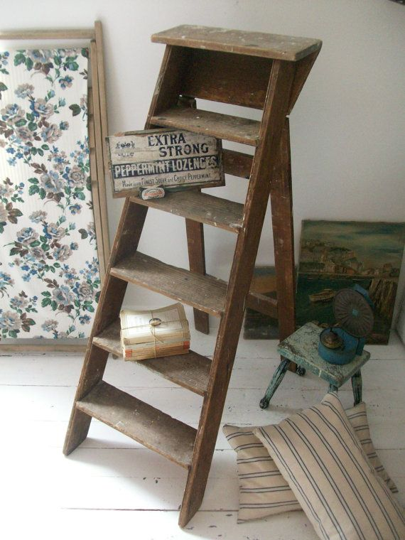 Old Vintage Wooden Step Ladder With Paint Splatters Display Etsy Rustic Ladder Decor Wooden Ladder Decor Wooden Steps