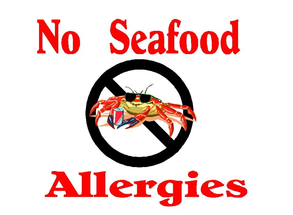 Free posters and signs seafood allergy fish allergy