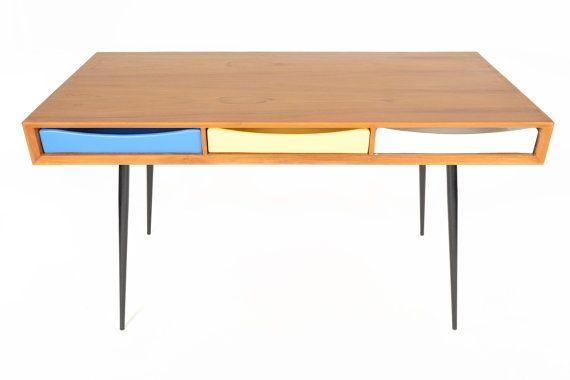 1960s Danish Mid Century Modern Tri- Color Desk in Teak