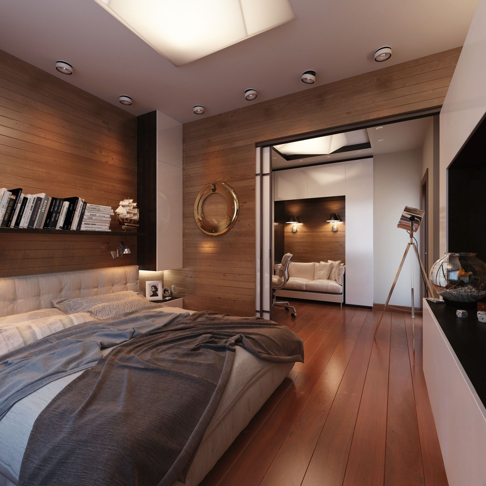 Yacht Style Bedroom With Wood Floors And Walls Rumah Mewah