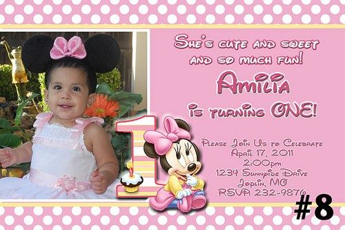 Baby minnie mouse custom photo first birthday invitation you print baby minnie mouse custom photo first birthday invitation you print filmwisefo