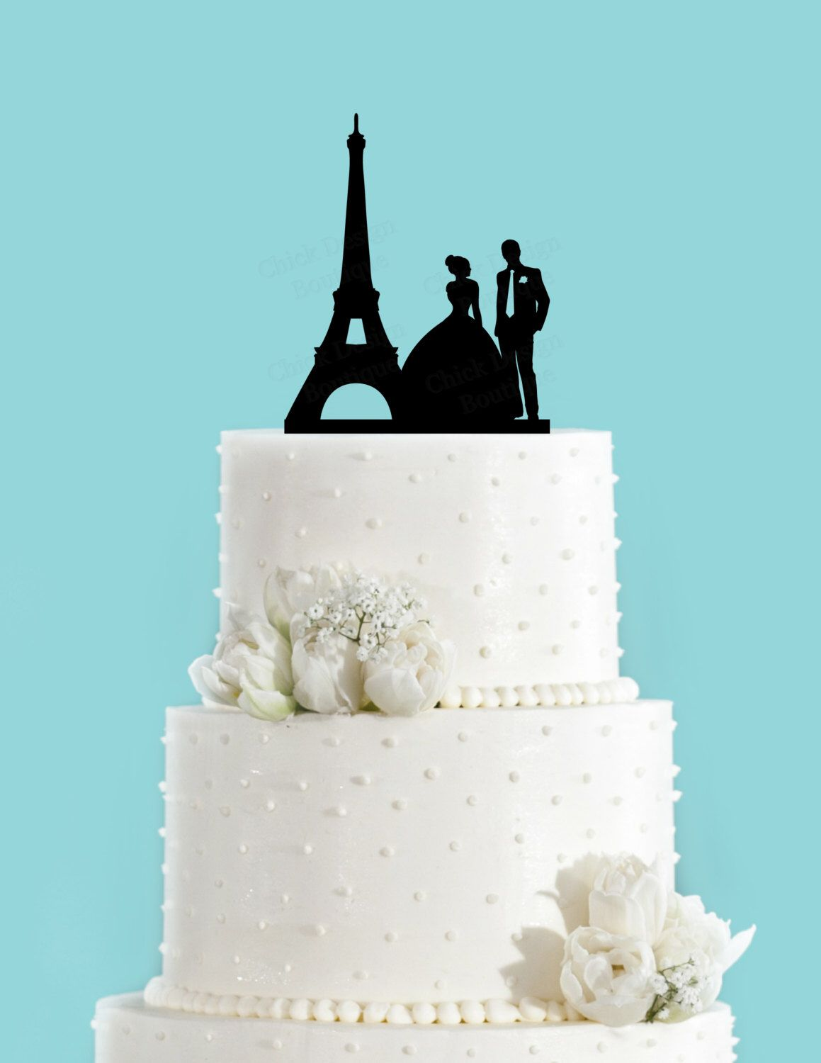 Paris couple bride and groom french wedding acrylic wedding cake