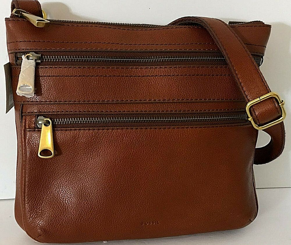 a6741803c05 Fossil Voyager Crossbody Brown Leather Shoulder Bag Top Zip 10