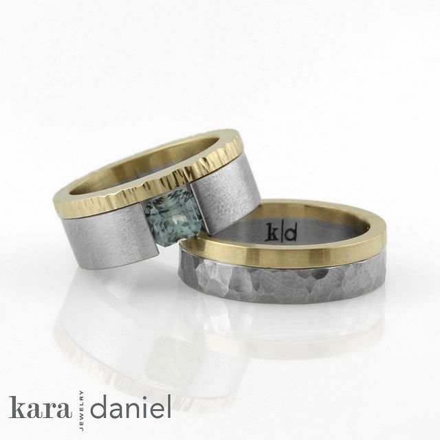 Montana Shire Family Heirloom Recycled Gold And Stainless Steel Wedding Rings By Kara