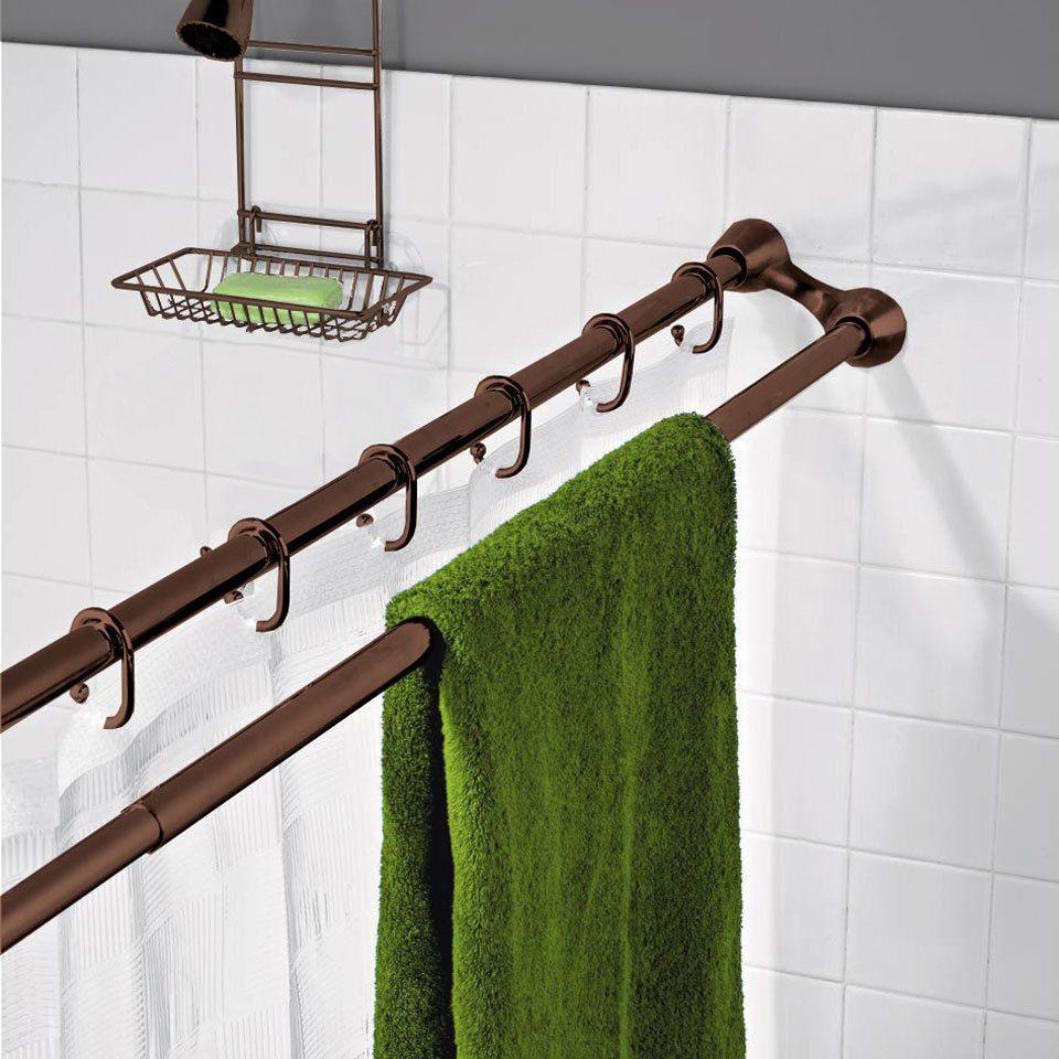 Teagan Dual Shower Curtain Rod In Bronze