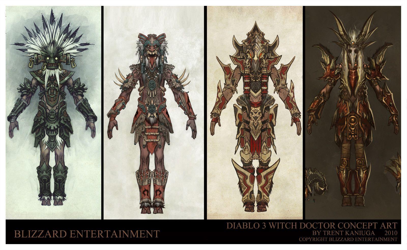 Diablo 3 - Witch Doctor Armor designs, Trent Kaniuga - Aquatic Moon on ArtStation at https://www.artstation.com/artwork/qEEBR